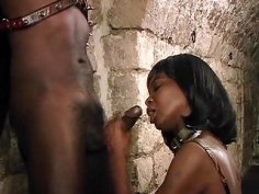 Dominatrices force black slave to please in threesome