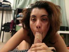 Hot pornstar Maya Morena sucks cock after having a hangover