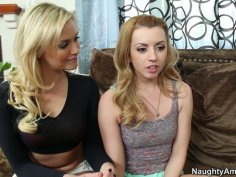 Lexi Belle and Mia Malkova unite to suck the dick of one guy