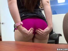 Brunette Angel Cakes gerts naked during interview