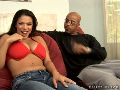 Busty and exotic slut Alexis Silver gives titjob with a great pleasure