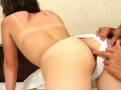 Titless chick from Japan Aya Ueha gets banged doggy on the bed