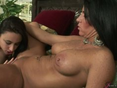 BBW snow white beauty Sonya Sage has lesbo fun on the bed