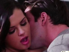 Mega Hot Brunette Teen Fucked Hard On The Bed