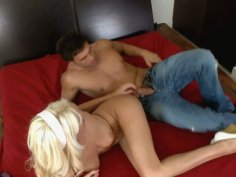 Barbie girl Addison O'Riley is banged on red bed
