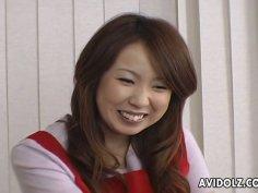 Cute Japanese girl Yui Kazuki is truing on crotchless bikini