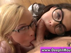 Clothed spex clad babe suck lucky guys cock