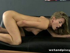 Beautiful little blonde lady is ready to piss