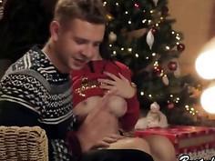 BustedMOM Sexy Brunette Christmas Present
