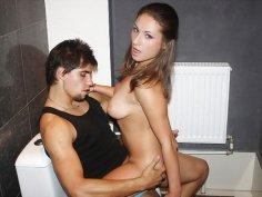 Hot anal fuck in a public toilet