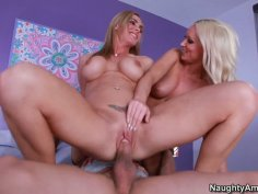 Lustful cougars couple of Diana Doll and Tanya Tate fuck in threesome